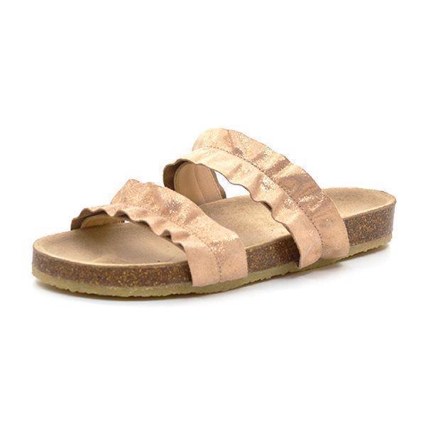 b7ee98a8a94b Angulus sandal m. korksål og flæse copper glitter